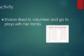 powerpoint slide activity sharon liked to volunteer and go to plays with her family